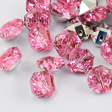 2-Hole Taiwan Acrylic Rhinestone Octagon Buttons, Faceted & Silver Plated Pointed Back, Pink, 12.5x13x7mm, Hole: 1mm(BUTT-F016-13mm-26)
