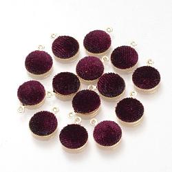 Подвесные велюровые подвески, с латунной фурнитурой , плоско-круглые, золотые, бортовые, 14x11x3 мм, отверстие : 1 мм(WOVE-R101-B07)