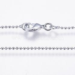 """Fabrication de collier en laiton plaqué de rack, chaîne de boule, Plaqué longue durée, platine, 17.7"""" (45cm); 1.5mm(X-MAK-G002-06P-B)"""