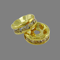 Brass Rhinestone Spacer Beads, Grade A, Straight Flange, Golden Metal Color, Rondelle, Crystal, 10x4mm, Hole: 2mm