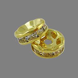 Perles séparateurs en laiton avec strass, Grade a, bride droite, métal couleur or, rondelle, cristal, 10x4mm, Trou: 2mm