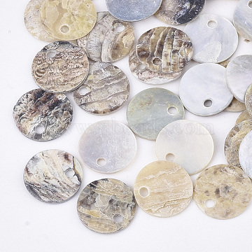 Natural Akoya Shell Charms, Mother of Pearl Shell Pendants, Flat Round, Tan, 10x1mm, Hole: 1.5mm(SHEL-T012-42A)