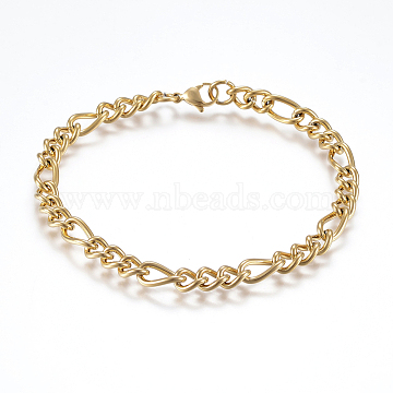 304 Stainless Steel Chain Anklets, with Lobster Claw Clasps, Golden, 8-5/8inches(220mm)x6mm(AJEW-I039-03G)