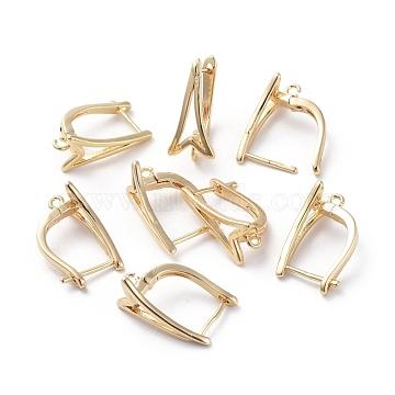 Accessoires de boucle d'oreilles en laiton, avec boucle, Plaqué longue durée, véritable plaqué or, 17.5x12x8.5mm, trou: 1.5 mm; broches: 0.9 mm(KK-L180-115G)