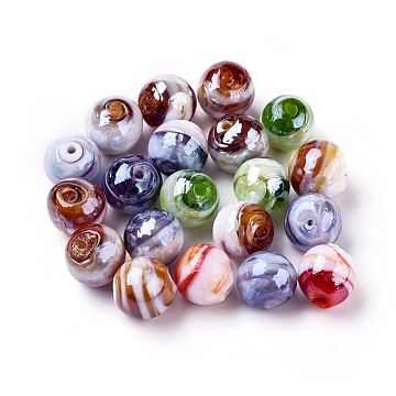 Handmade Lampwork Beads, Pearlized, Round, Mixed Color, 12mm, Hole: 2mm(X-LAMP-S005)