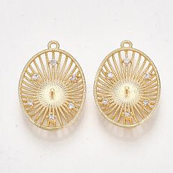 Pendentifs en forme de zircon cubique en laiton, pour la moitié de perles percées, ovale, clair, véritable 18k plaqué or, 24x16x3.5~4mm, trou: 1.2 mm; broches: 1 mm(KK-S350-336)