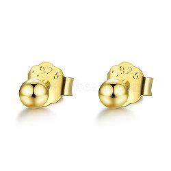 999 boucles d'oreille en argent sterling, avec 925 écrou d'oreille en argent sterling / dos de boucle d'oreille, arrondir, or, 14 mm; 3 mm; broches: 0.7 mm(STER-S005-02B-02)