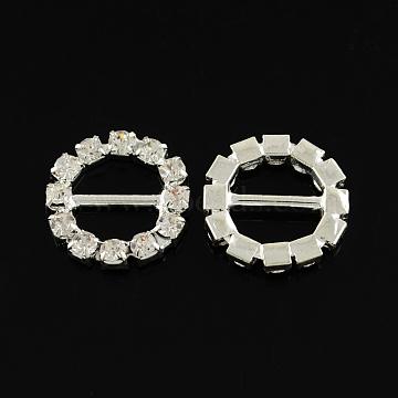 Shining Wedding Invitation Ribbon Buckles, Brass Grade A Rhinestone Garment, Dress Slide Buckles, Ring, Silver Color Plated, Crystal, 16x3mm, Hole: 10x4mm(RB-S019-15)