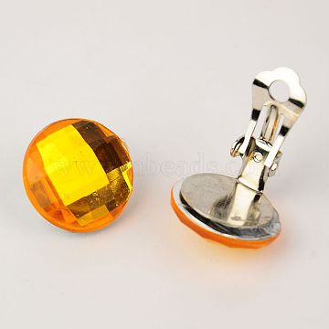 Brass Clip-on Earrings, with Acrylic Rhinestone Cabochons, Gold, 18mm(EJEW-JE00851-05)