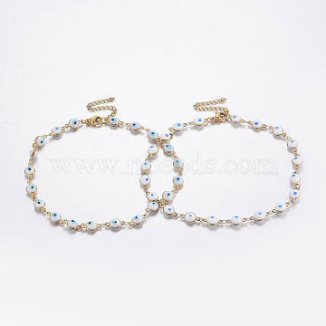 304 Stainless Steel Anklets, with Enamel, Evil Eye, Mixed Color, 10-1/4inches(260mm)(AJEW-F033-02)