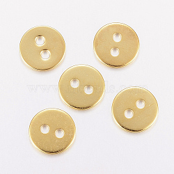 Boutons en acier inoxydable 304, 2-trou, plat rond, or, 12x1mm, Trou: 2mm(STAS-F162-01G)