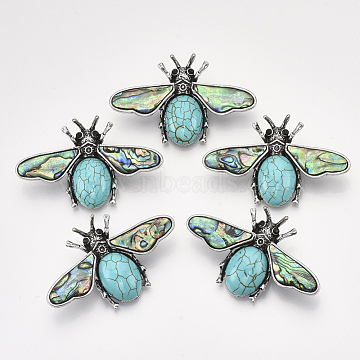 Synthetic Turquoise Safety Brooch