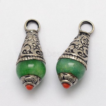 Brass Teardrop Pendants, with Resin Imitation Gemstone and Antique Silver, Green, 26~28x11mm, Hole: 4mm(X-PALLOY-F127-B-03)