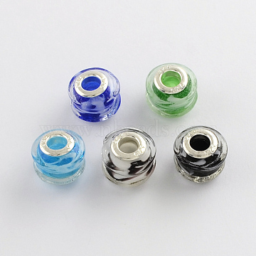 14mm Mixed Color Rondelle Lampwork+Brass Core Beads