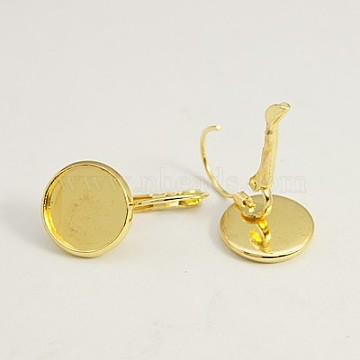 Brass Leverback Earring Findings, Nickel Free, Lead Free and Cadmium Free, Flat Round, Golden, 25x14mm; Tray: 12mm(X-KK-C1244-NRG)