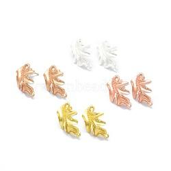 Accessoires de clou d'oreille en alliage, avec boucle, goupilles en laiton et écrous d'oreille / dos de boucle d'oreille, Plaqué longue durée, feuille, couleur mixte, 23x17.5mm, trou: 1.4 mm; broches: 0.7 mm(PALLOY-F255-24)