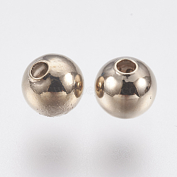 Perles en laiton, rond, café doré, 5mm, Trou: 1.2mm(KK-K224-07G)