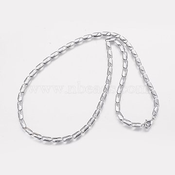 Iron Chain Necklaces, Long-Lasting Plated, with Lobster Clasp, Platinum, 20inches(51cm); 4mm(NJEW-P176-03)