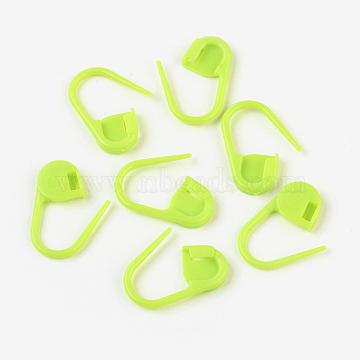 Environmental ABS Plastic Knitting Crochet Locking Stitch Markers Holder, Green Yellow, 22x11x3mm; Pin: 1mm(IFIN-F149-J02)