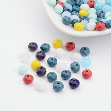 Mixed Imitation Jade Glass Faceted Rondelle Beads, Mixed Color, 6x4mm, Hole: 1mm(X-GLAA-F001-6x4mm-M)