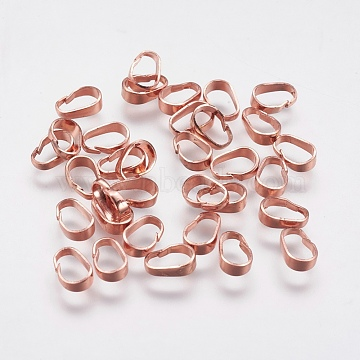 Brass Snap on Bails, Long-Lasting Plated, Real Rose Gold Plated, 7x5x2mm, Hole: 3.5x6mm(X-KK-F739-18RG)