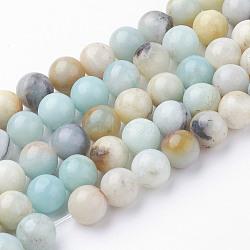 Chapelets de perles en amazonite naturel, rond, 8~8.5mm, trou: 1mm; environ 45~47 pcs/chapelet, 14.9'' (38 cm)(G-G735-61-8mm)
