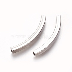 304 Stainless Steel Tube Beads, Square Hole, Stainless Steel Color, 45x4x4mm, Hole: 3x3mm(X-STAS-L226-057G-P)