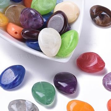 Acrylic Beads, Imitation Gemstone Style, Lentil, Mixed Color, 25mm long, 19mm wide, 10mm thick, hole: 2mm(X-PGB279Y)