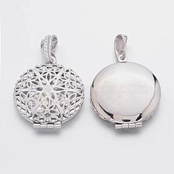 Латунные диффузор Locket подвески, рамку подвески для ожерелья, без свинца, платиновый цвет, шириной около 27 мм, 42.5 мм длиной, отверстие : 4 мм(X-ECF126-LF)