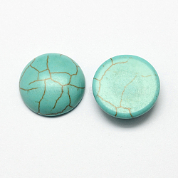 Accessoires d'artisanat cabochons à dôme à dos plat en turquoise synthétique teinte, demi-rond, darkcyan, 6x3mm(X-TURQ-S266-6mm-01)