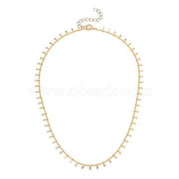 Brass Curb Chain Necklaces, with Charms and Spring Ring Clasps, Golden, 16.14 inches(41cm), 1.2mm(NJEW-JN03070-02)