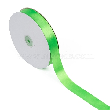 Single Face Solid Color Satin Ribbon, for Making Crafts, Sewing, Party Wedding Decoration, Green, 1 inches(25~26mm); about 100yards/roll(91.44m/roll)(SRIB-S052-25mm-052)