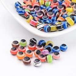 Flat Round Evil Eye Resin Beads, Mixed Color, 6x5mm, Hole: 1mm(X-RESI-R039-M)