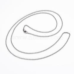 """Colliers avec chaîne de câble en 304 acier inoxydable, avec fermoir pince de homard, couleur inoxydable, 29.92"""" (76cm); 1.8x0.5mm(NJEW-H445-16P)"""
