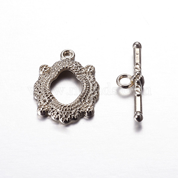 Alloy Toggle Clasps, Cadmium Free & Nickel Free & Lead Free, Platinum Color, Size: about 24mm long, 17mm wide, hole: 2mm, bar: 26mm long, 7mm wide, hole: 2.5mm(X-PALLOY-A11-2606-N-FF)