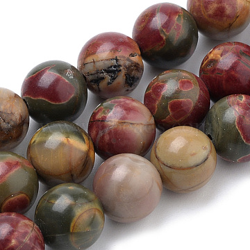 Natural Picasso Stone/Picasso Jasper Beads Strands, Round, 8mm, Hole: 1mm, about 50pcs/strand, 15.7 inches(X-G-S259-23-8mm)