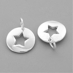 Breloques en argent sterling, plat et circulaire avec étoile, argenterie, 14.5x11x1.5mm, Trou: 3mm(STER-G011-35)