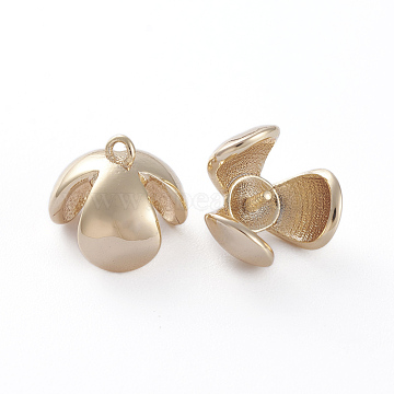 Brass Screw Eye Peg Bails Pendants, for Half-driled Beads, Leaf, Real 18K Gold Plated, 9x9x7x7.5mm, Hole: 1mm, Inner Diameter: 7mm, Pin: 0.8mm(KK-K379-05G)
