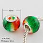 Green Rondelle Glass+Brass Core European Beads(GPDL-R003-04S)