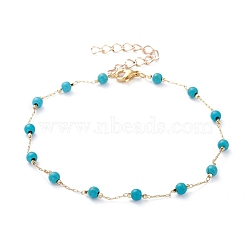 Round Synthetic Turquoise Anklets, with Brass Cable Chains and 304 Stainless Steel Lobster Claw Clasps, Golden, Dark Cyan, 9-1/2 inches(24cm)(X-AJEW-AN00288-01)
