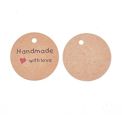 Jewelry Display Kraft Paper Price Tags, Round with Word Handmade with Love, Sandy Brown, 45x0.4mm, Hole: 4.5mm, about 50pcs/bag(X-CDIS-WH0009-02A)