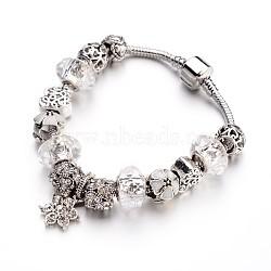 Bracelets européens de mode en laiton, avec des perles de verre et perles en alliage de strass, clair, 190x3mm(BJEW-L583-01B)