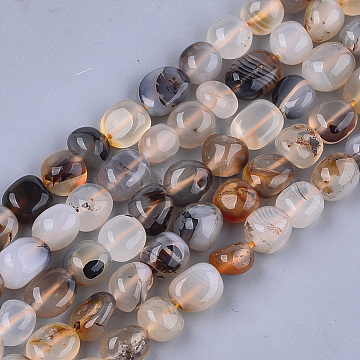 Natural Marine Chalcedony Beads Strands, Nuggets, 8~19x8~12x4~8mm, Hole: 0.8mm, about 37pcs/strand, 15.9 inches(X-G-T105-34)