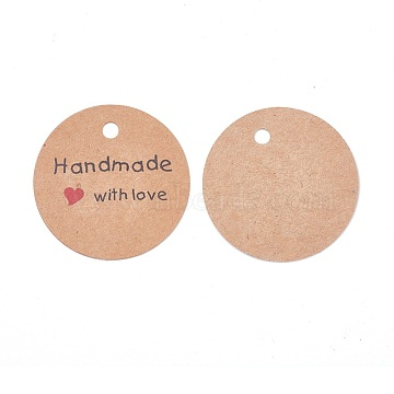 Jewelry Display Kraft Paper Price Tags, Round with Word Handmade with Love, Sandy Brown, 45x0.4mm, Hole: 4.5mm; about 50pcs/bag(X-CDIS-WH0009-02A)