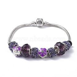 """Bracelets européens en laiton, perles de verre, perles de strass en pâte polymère et perles en émail allié, boite d'emballage, violet, 7-5/8"""" (19.5cm); 3mm(BJEW-JB04434)"""