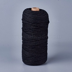 Cotton String Threads for Jewelry Making, Macrame Cord, Black, 3mm; about 100m/roll(OCOR-BC0011-A-02)