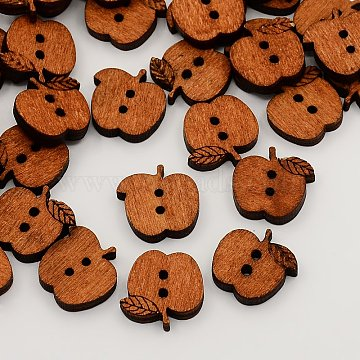 2-Hole Wooden Buttons, Apple Sewing Buttons, Undyed, SaddleBrown, 15x17x4mm, Hole: 2mm(X-BUTT-N003-23)