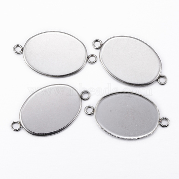 304 Stainless Steel Cabochon Connector Settings, Plain Edge Bezel Cups, Oval, Stainless Steel Color, Tray: 18.5x13.5mm, 24.5x14x1.5mm, Hole: 2mm(X-STAS-H394-01P)