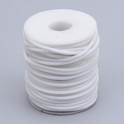 Tuyau creux corde en caoutchouc synthétique tubulaire pvc, enroulé aurond de plastique blanc bobine, blanc, 4mm, trou: 2 mm; environ 15 m / rouleau(RCOR-R007-4mm-08)