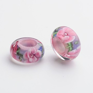 Handmade Lampwork European Rondelle Large Hole Beads, No Metal Core, Orchid, 14.5x7mm, Hole: 5.5mm(X-LPDL-F007-61)